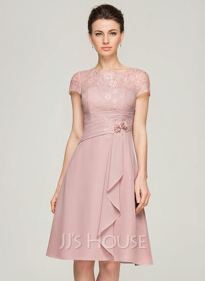 Neck Knee-Length Chiffon Lace Mother of the Bride Dress With Beading ...