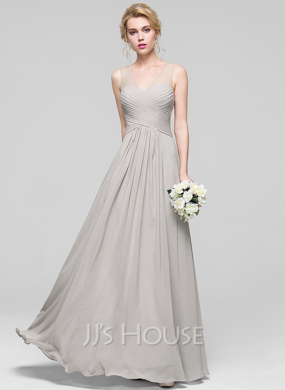 A line princess v neck floor length chiffon bridesmaid for Jjs house wedding dresses