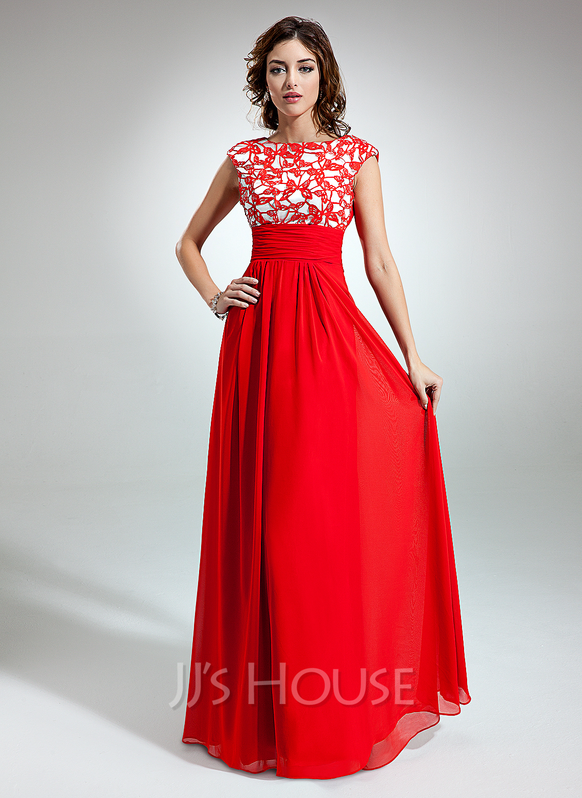 Length chiffon holiday dress with ruffle lace 020032261 jjshouse