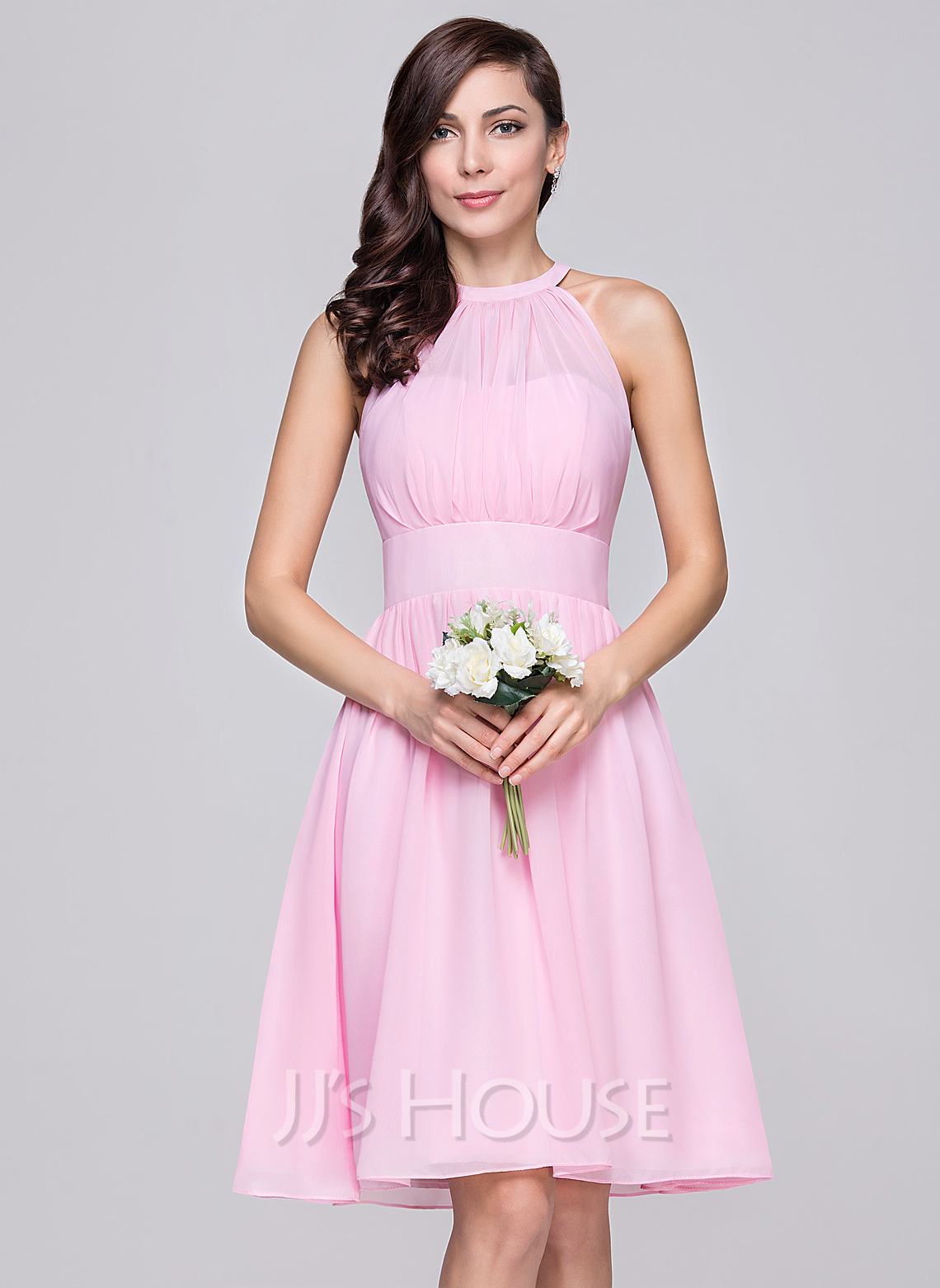 a line princess scoop neck knee length chiffon bridesmaid dress with ruffle 007059438 jjshouse. Black Bedroom Furniture Sets. Home Design Ideas