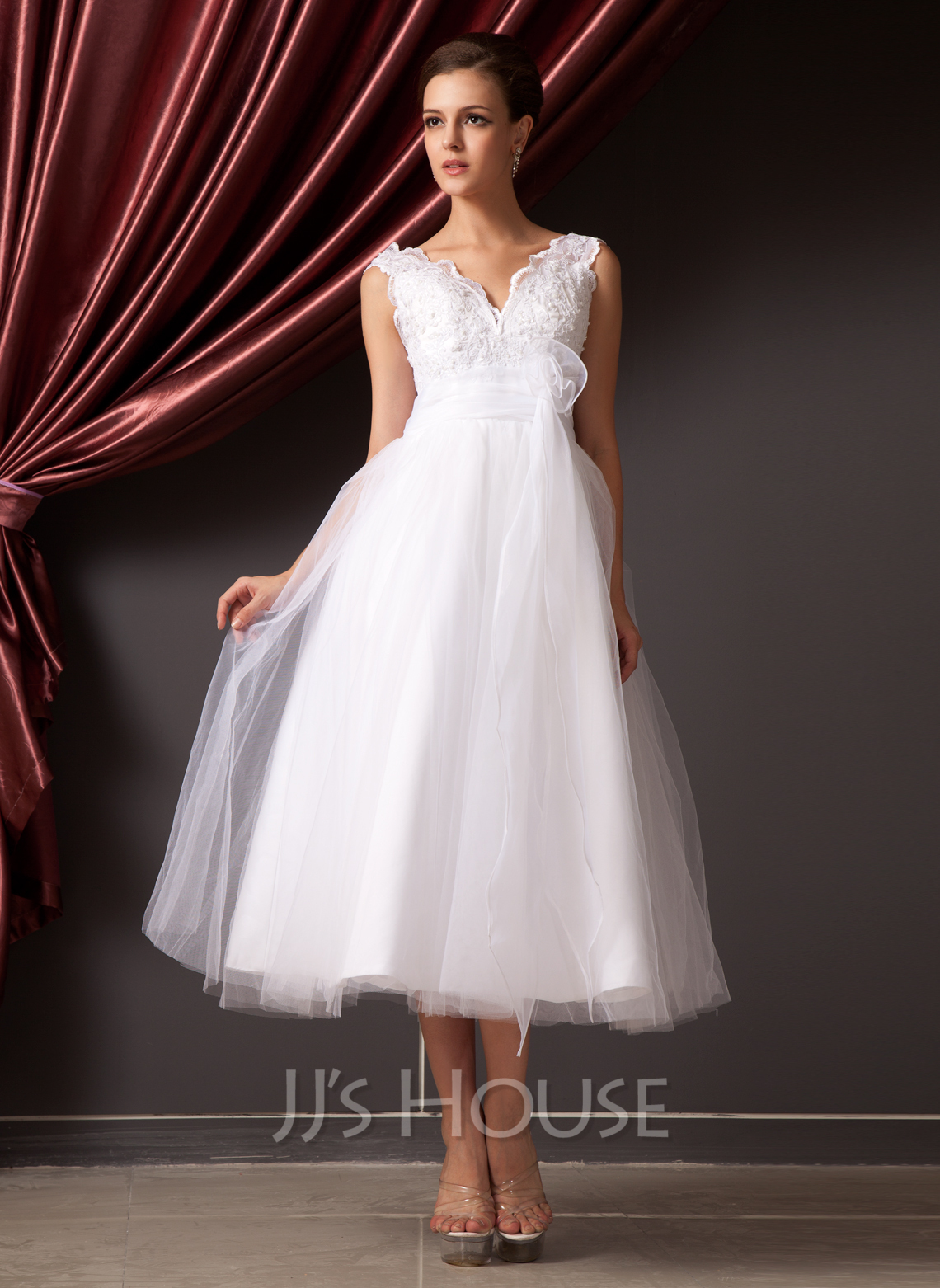 A line princess v neck tea length organza tulle wedding for Tulle and organza wedding dresses