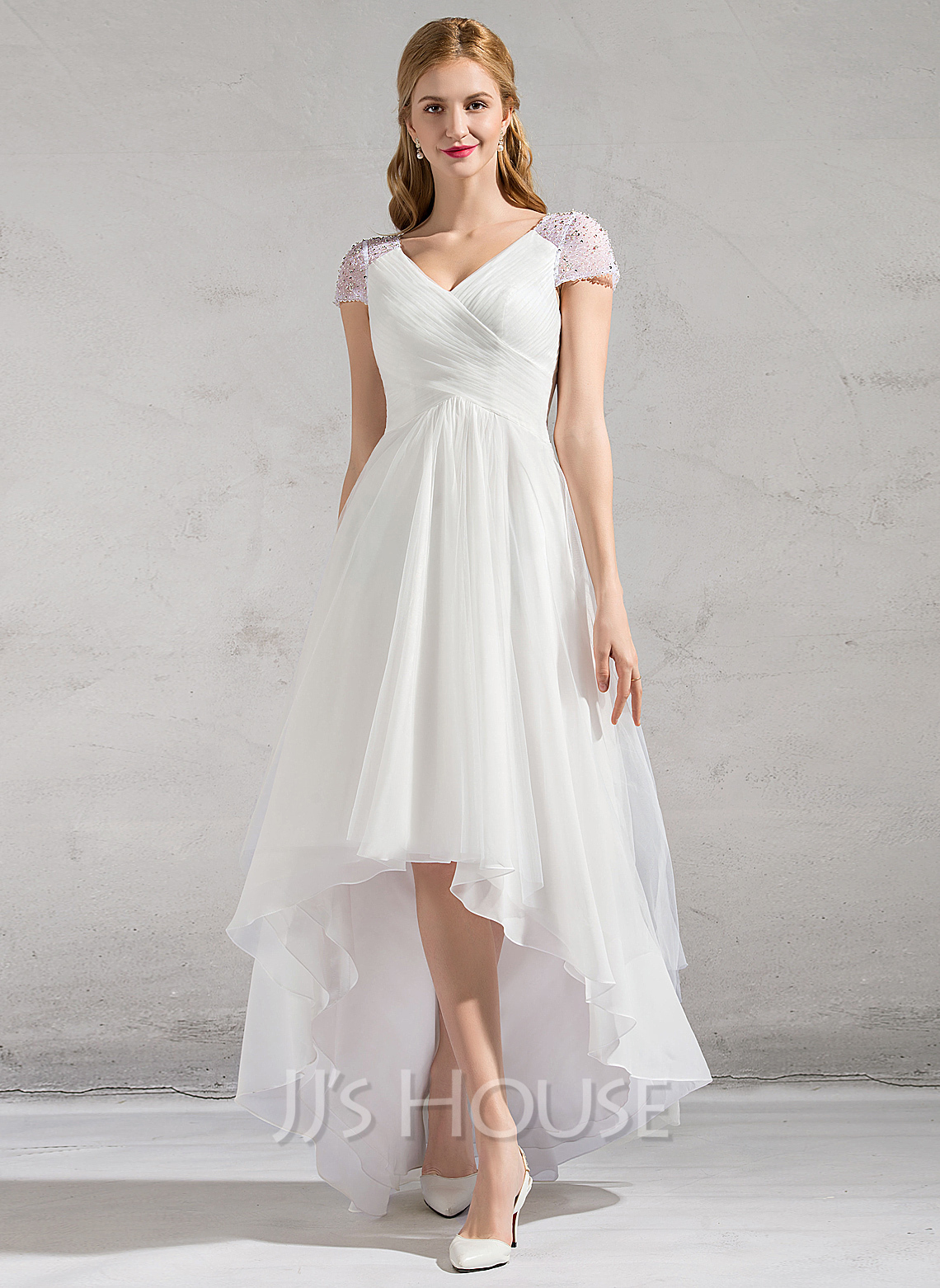 A line princess v neck asymmetrical tulle wedding dress for Beading for wedding dress