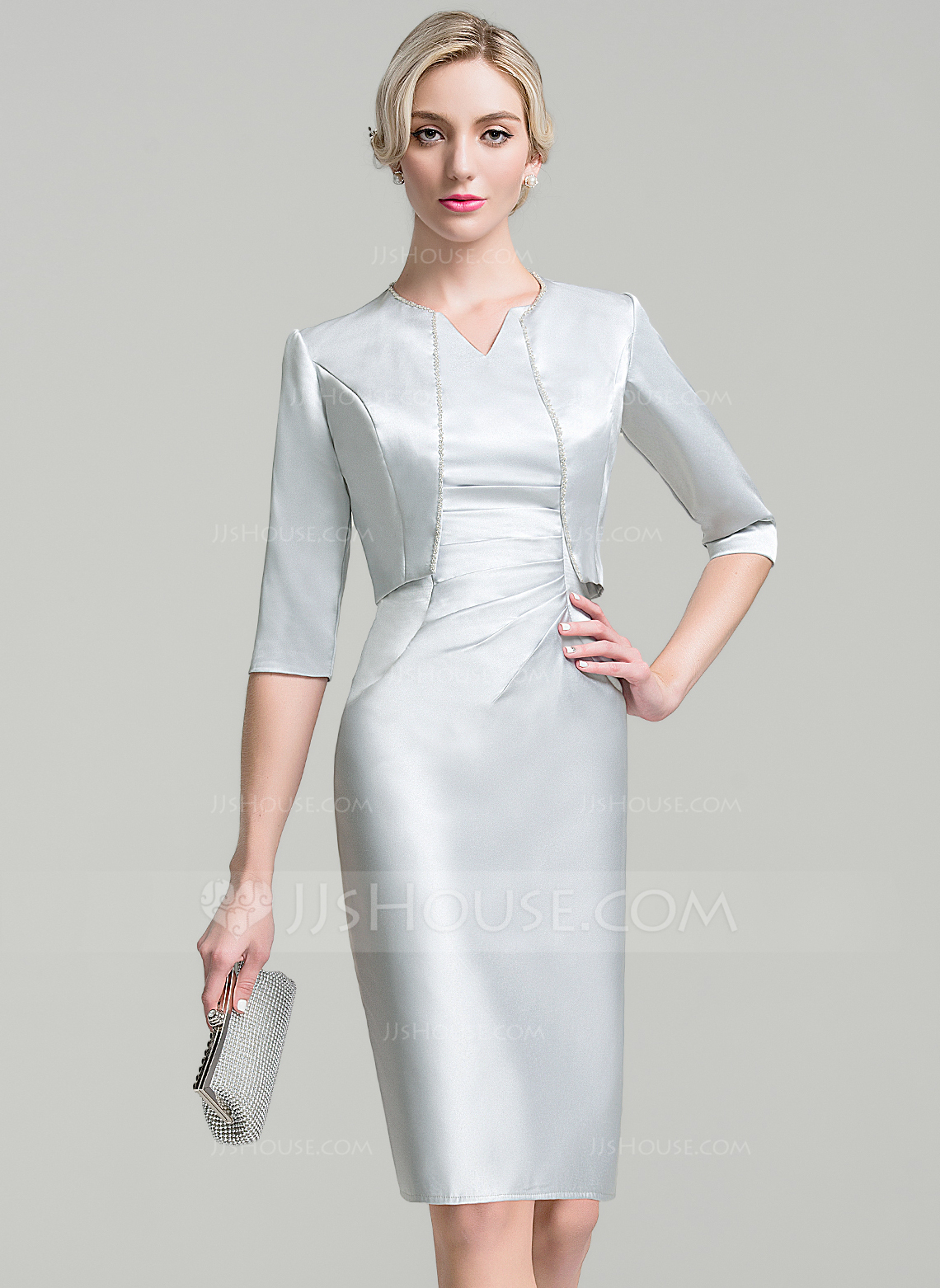 Neck knee length satin mother of the bride dress with ruffle beading
