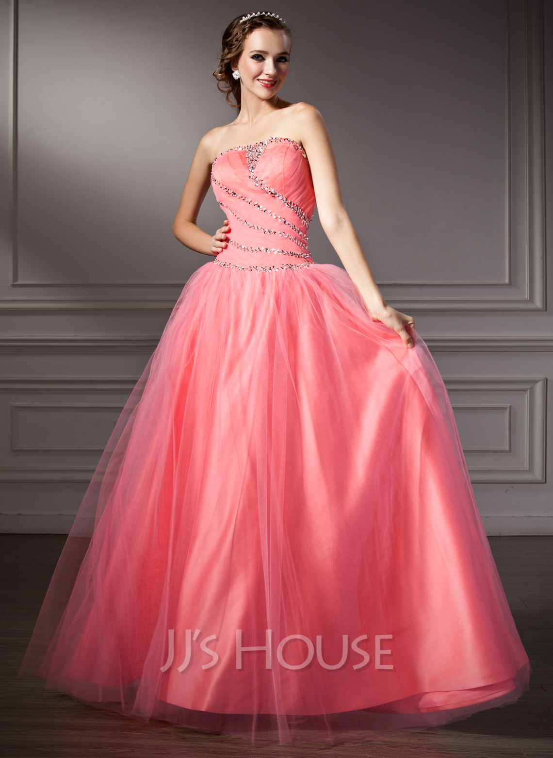 Ball gown strapless floor length tulle quinceanera dress with ruffle