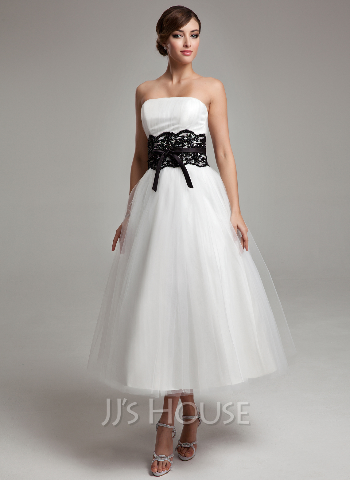 A line princess strapless tea length satin tulle wedding for A line tulle wedding dress