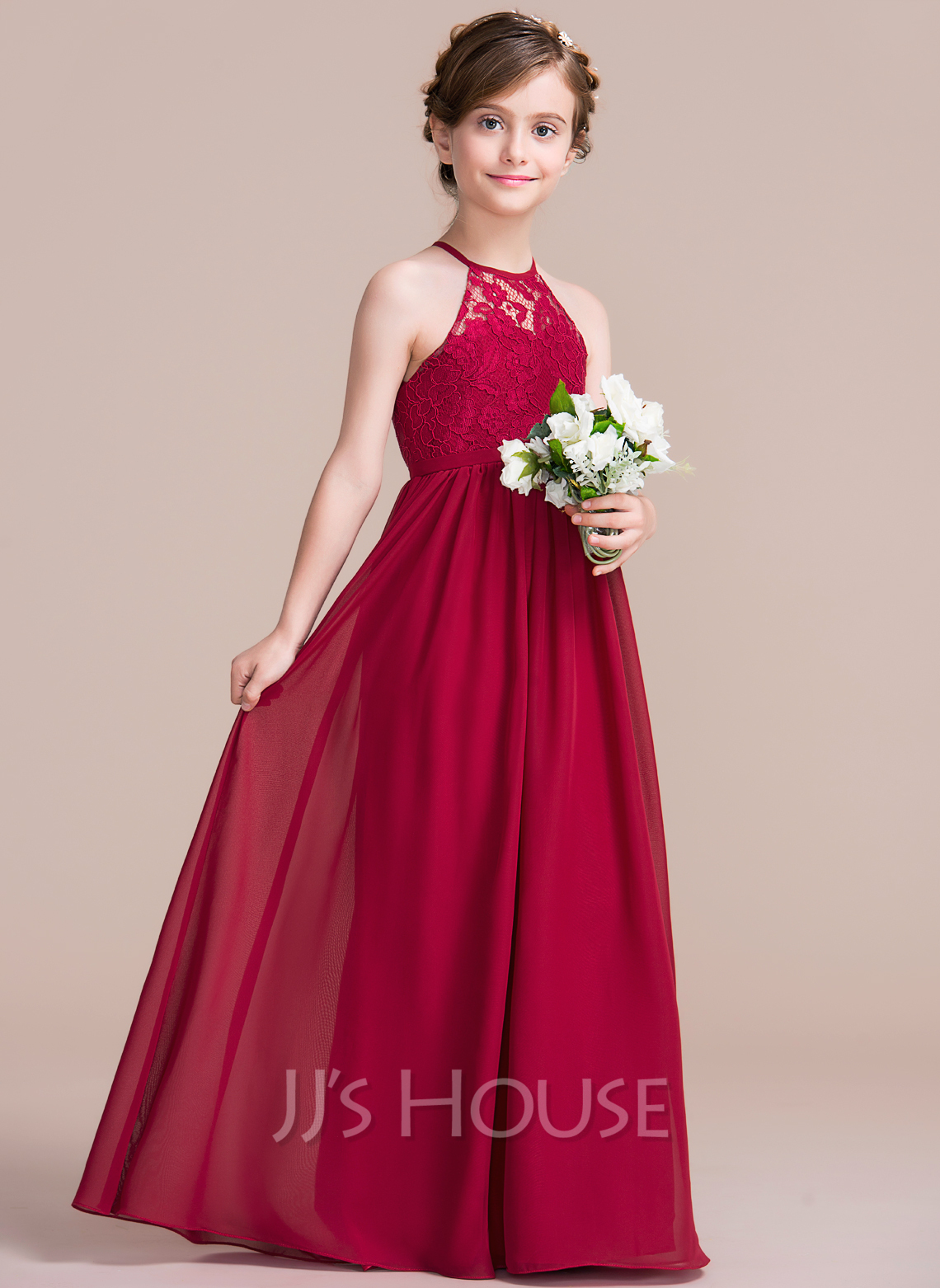 A line princess scoop neck floor length chiffon junior for Dresses to wear to a wedding for teens