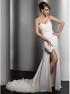 Sheath/Column Sweetheart Court Train Chiffon Wedding Dress With Ruffle Lace Beadwork Sequins (002011415)
