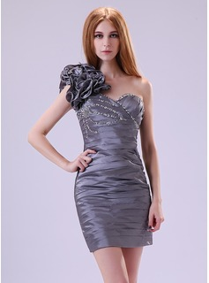 Sheath/Column One-Shoulder Short/Mini Taffeta Cocktail Dress With Ruffle Beading