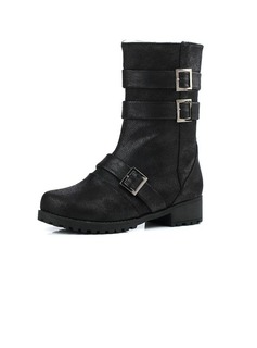 Leatherette Flat Heel Mid-Calf Boots With Buckle shoes