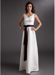 A-Line/Princess V-neck Floor-Length Satin Bridesmaid Dress With Sash Bow