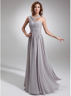 A-Line/Princess One-Shoulder Floor-Length Chiffon Evening Dress With Ruffle Beading (017016739)