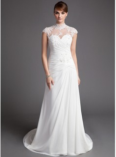Sheath/Column High Neck Court Train Chiffon Tulle Wedding Dress With Ruffle Lace Beadwork