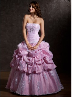 Ball-Gown Strapless Floor-Length Taffeta Organza Wedding Dress With Ruffle Lace Beadwork