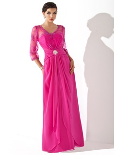 A-Line/Princess V-neck Floor-Length Chiffon Tulle Mother of the Bride Dress With Ruffle Lace Cascading Ruffles
