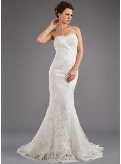 Mermaid Strapless Sweep Train Satin Tulle Wedding Dress With Lace Beadwork