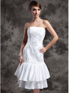 Sheath/Column Strapless Knee-Length Taffeta Lace Wedding Dress With Beadwork Sequins