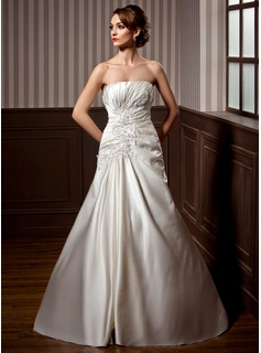 A-Line/Princess Strapless Chapel Train Satin Wedding Dress With Ruffle Appliques Lace Sequins