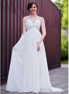 Empire V-neck Sweep Train Chiffon Wedding Dress With Ruffle Beadwork