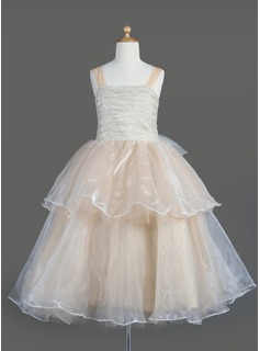 A-Line/Princess Square Neckline Tea-Length Organza Flower Girl Dress With Bow(s) Cascading Ruffles