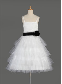 A-Line/Princess Square Neckline Knee-Length Tulle Charmeuse Flower Girl Dress With Sash Cascading Ruffles