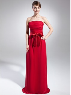 Sheath Strapless Sweep Train Chiffon Charmeuse Holiday Dress With Ruffle Sash