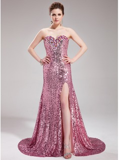A-Line/Princess Sweetheart Court Train Chiffon Sequined Prom Dress With Beading (018019681)