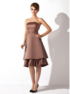 A-Line/Princess Strapless Knee-Length Satin Bridesmaid Dress With Ruffle Bow(s)