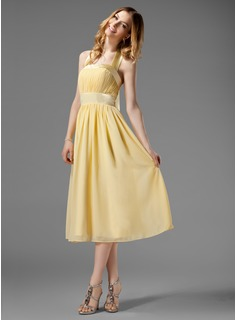 A-Line/Princess Halter Tea-Length Chiffon Charmeuse Bridesmaid Dress With Ruffle