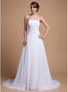 A-Line/Princess Strapless Court Train Chiffon Wedding Dress With Ruffle Beadwork Sequins