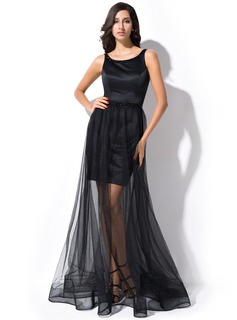 A-Line/Princess Scoop Neck Floor-Length Satin Tulle Evening Dress With Beading Sequins Bow(s)