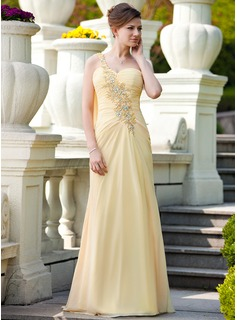 A-Line/Princess One-Shoulder Sweep Train Chiffon Mother of the Bride Dress With Ruffle Lace Beading (008024569)