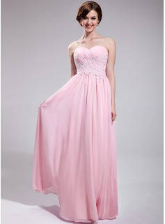 A-Line/Princess Sweetheart Floor-Length Chiffon Prom Dress With Embroidered Ruffle Beading