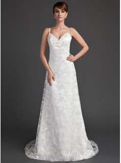 A-Line/Princess Sweetheart Sweep Train Satin Lace Wedding Dress With Beadwork