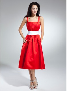 A-Line/Princess Square Neckline Tea-Length Satin Homecoming Dress With Ruffle Sash (022014944)