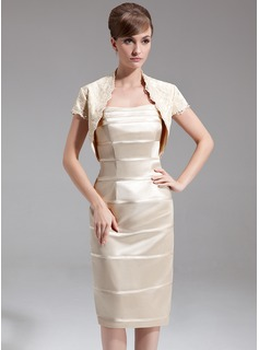 Sheath Sweetheart Knee-Length Charmeuse Mother of the Bride Dress