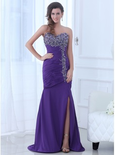 Trumpet/Mermaid Sweetheart Sweep Train Chiffon Evening Dress With Ruffle Beading Split Front