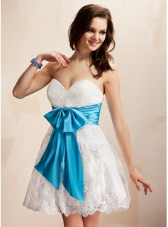 Empire Sweetheart Short/Mini Charmeuse Lace Homecoming Dress With Sash Beading