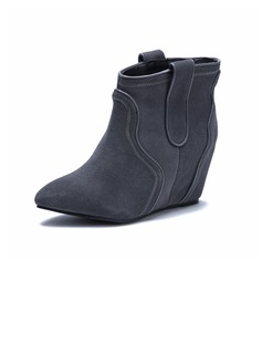 Real Leather Wedge Heel Ankle Boots shoes