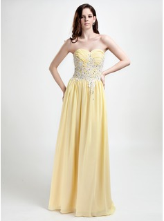 A-Line/Princess Sweetheart Floor-Length Chiffon Holiday Dress With Embroidered Ruffle Beading Sequins (020015803)