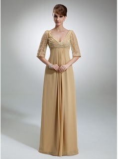 Empire V-neck Floor-Length Chiffon Tulle Mother of the Bride Dress With Ruffle Sequins