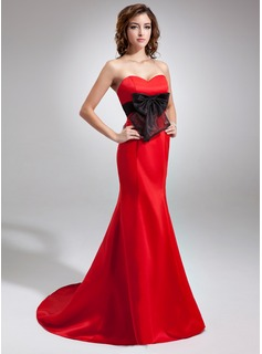 Mermaid Sweetheart Sweep Train Organza Satin Evening Dress With Sash