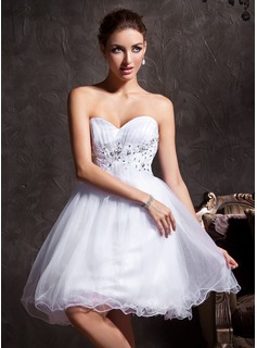 A-Line/Princess Sweetheart Short/Mini Tulle Homecoming Dress With Lace Beading (022020906)