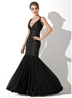 Mermaid Halter Floor-Length Chiffon Charmeuse Evening Dress With Ruffle (017020854)