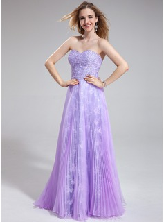 A-Line/Princess Sweetheart Floor-Length Organza Lace Prom Dress With Ruffle Beading Sequins