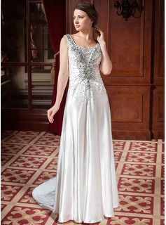 A-Line/Princess Sweetheart Court Train Taffeta Wedding Dress With Ruffle Lace Beadwork (002024445)