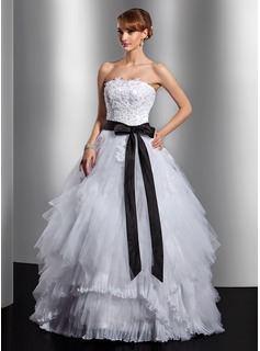 Ball-Gown Strapless Floor-Length Satin Tulle Quinceanera Dress With Lace Sash Bow(s) Cascading Ruffles