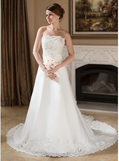 A-Line/Princess Strapless Chapel Train Organza Satin Wedding Dress With Ruffle Lace Beadwork Sequins