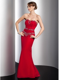 Sheath Sweetheart Watteau Train Chiffon Evening Dress With Ruffle Beading (017014779)