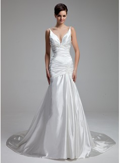 A-Line/Princess V-neck Chapel Train Charmeuse Wedding Dress With Ruffle Lace Beadwork (002000434)