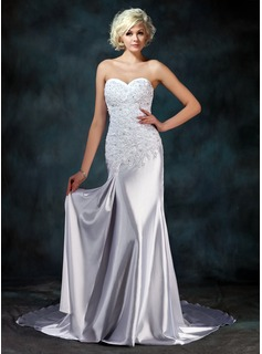 Sheath/Column Sweetheart Watteau Train Charmeuse Wedding Dress With Lace Beadwork (002000157)